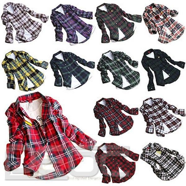 Women Button Down Lapel Casual Shirt Plaids Checks Flannel Cotton Tops Blouse | eBay