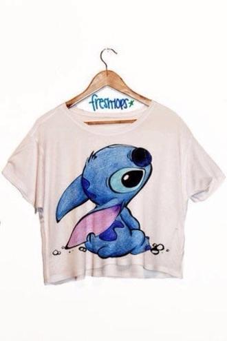 t-shirt stitch blue printed disney cute white lilo and stitch