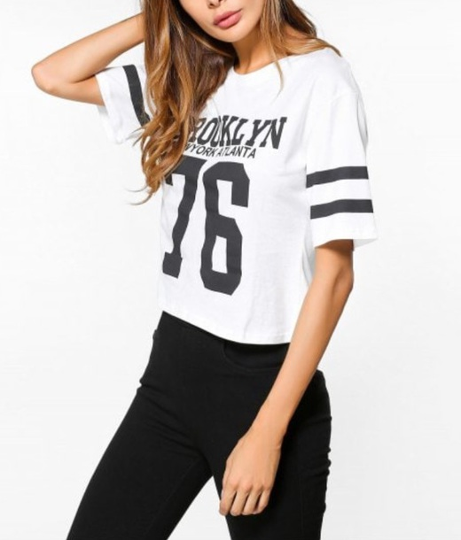 top girly white white top white shirt white t-shirt t-shirt black print printed t-shirt crop tops crop cropped