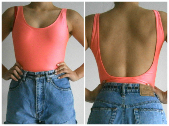 swimwear blue shorts denim shorts neon pink orange low back backless leotard bodysuit high waisted shorts flourescent fluro american apparel jeans
