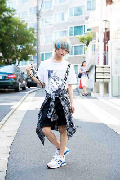 black t-shirt shorts white shirt style fashion grunge flannel kawaii grunge soft grunge kawaii