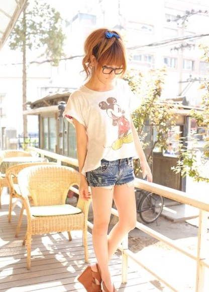 denim shorts vintage t-shirt denim shorts mickey mouse shirt