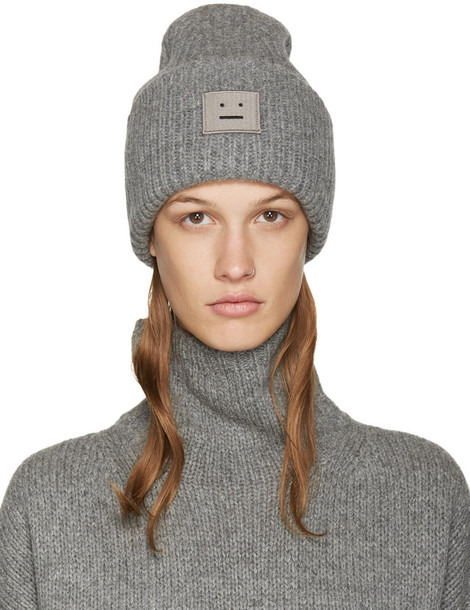 Acne Studios Grey Wool Pansy Beanie - Wheretoget 0c05dffeba6