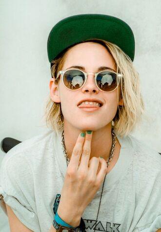 sunglasses cap kristen stewart coachella festival music festival