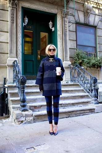 atlantic pacific blogger chanel winter coat navy stripes printed pants blue coat striped pants
