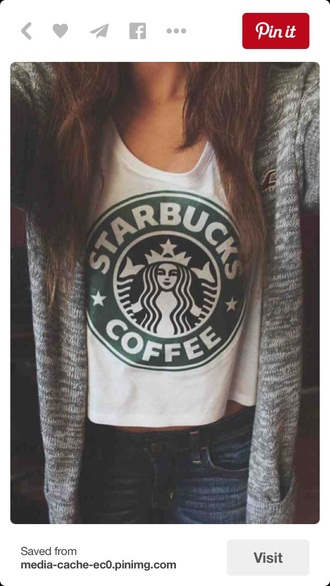 shirt starbucks coffee cardigan white top cotton