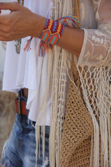 cute tribal white jacket vest open knitted open knit off white boho hippie hipster jeans denim bracelet lace pretty gorgeous awesome amazing bohemian