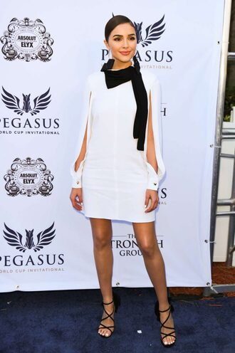 dress mini dress sandals lace up heels olivia culpo black and white long sleeve dress spring outfits
