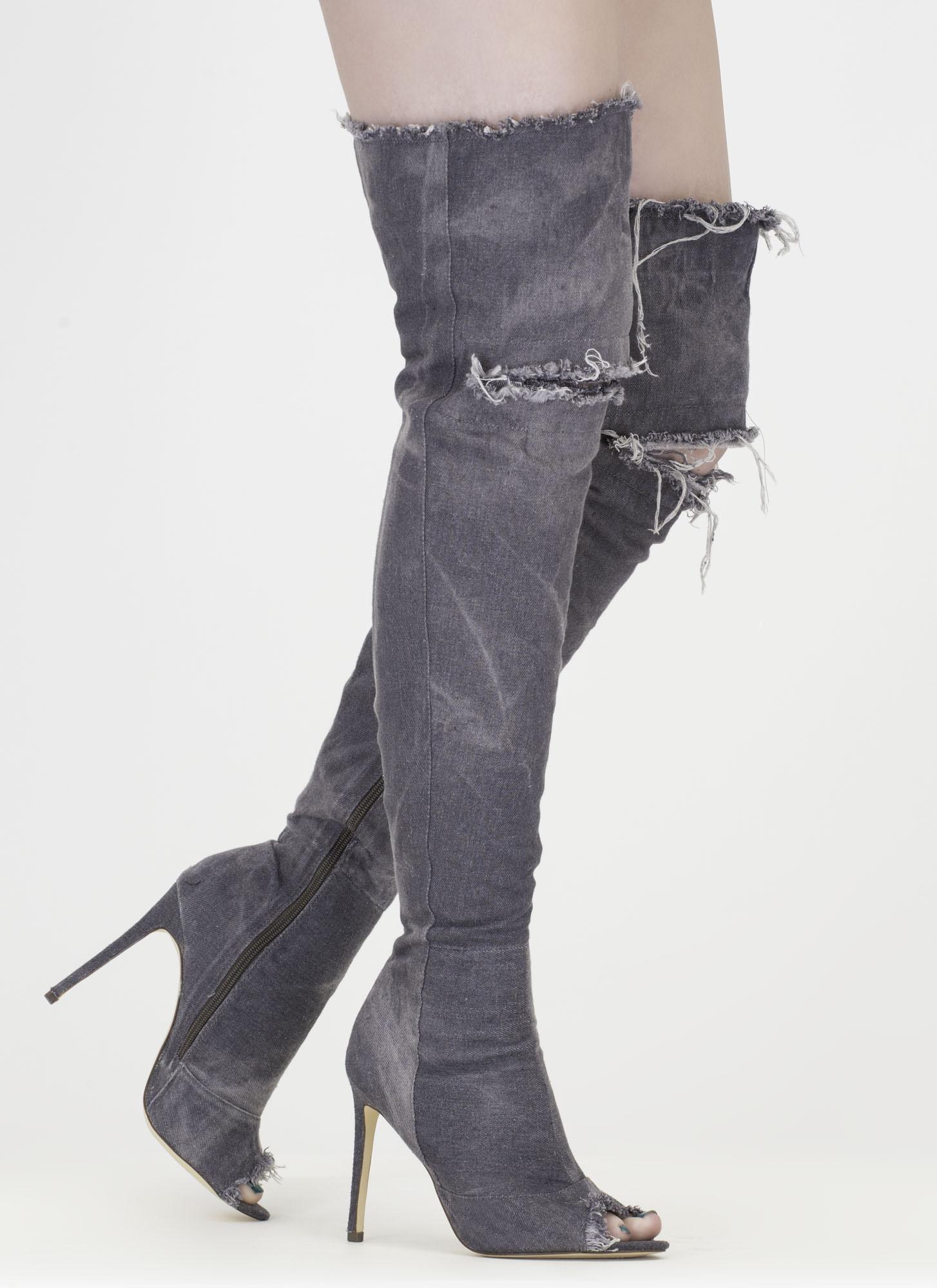 Signal Denim Thigh-High Boots GREY BLACK MEDIUMBLUE BLUE - GoJane.com
