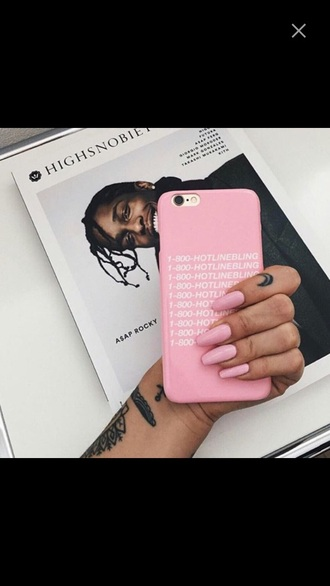 phone cover iphone pink white drake hotline bling