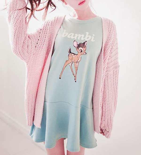 Dress Kawaii Cute Bambi Oversized Cardigan Pastel