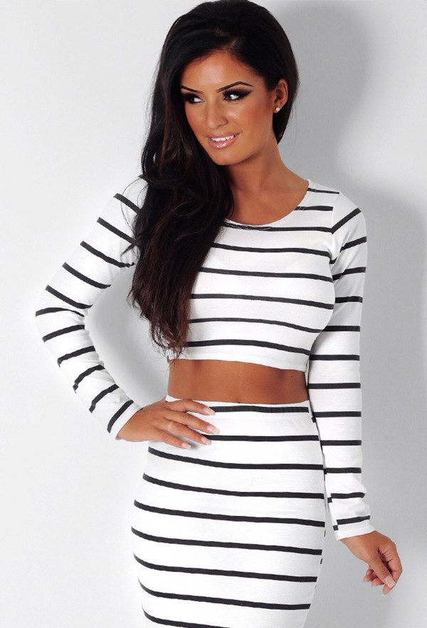 top outfit stripes black and white