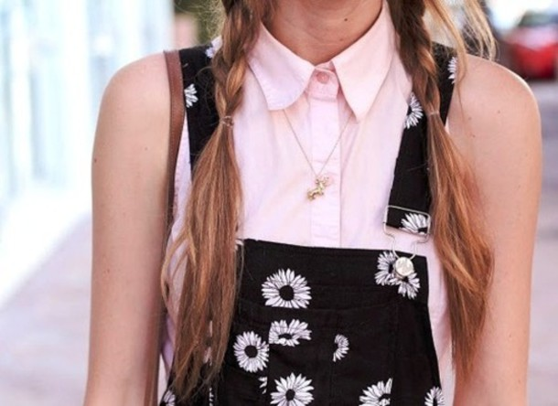 dress overalls daisy black tank top overall daisies black white shorts oberall daisies black white blouse pink girly