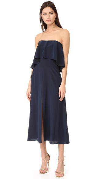 dress strapless navy silk