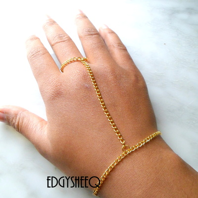 Silver Hand Chain Attached Ring to Bracelet, Simple hand to wrist adornment, everyday flair · EdgYSheeQ · Online Store Powered by Storenvy