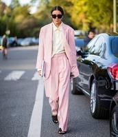 jacket,blazer,pink blazer,oversized,pants,high waisted pants,wide-leg pants,pink pants,slide shoes,clutch,sunglasses