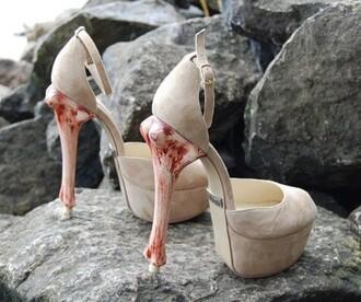 shoes heels bones velvet suede nude high heels beige blood open toes