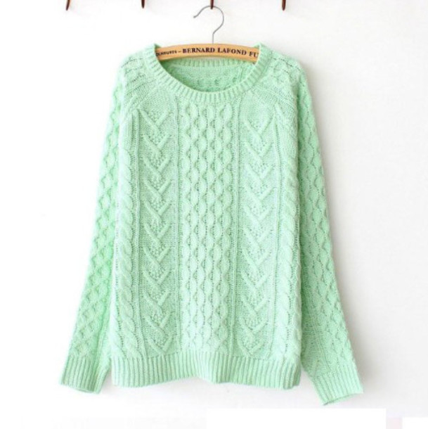 sweater mint green sweater knitted sweater