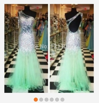 dress mint dress mermaid style long dress one shoulder sequin dress helpmefindthis prom dress