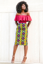 blogger,shoes,off the shoulder,red top,african print,pencil skirt,office outfits,black girls killin it,red off shoulder top,ruffle,ruffled top,off the shoulder top,high waisted skirt,printed  skirt,midi skirt,yellow skirt,hoop earrings,earrings,curly hair,sandals,sandal heels,high heel sandals,furry sandals,pom pom sandals