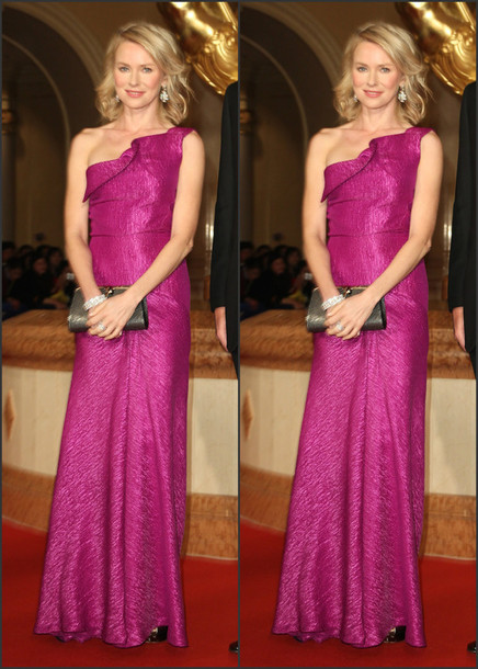 gown pink prom dress naomi watts one shoulder dress