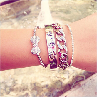jewels bow love your life love life love life chrome chain studs chain link beaded cute fun stacks stacked jewelry