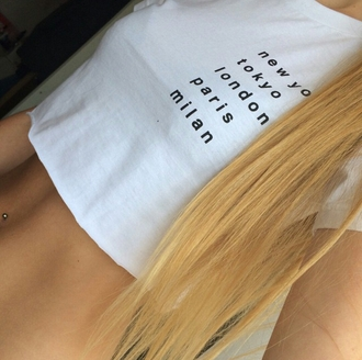 top on point clothing crop tops white quote on it fashionista blonde hair cute piercing belly ring tumblr pretty summer outfits girly