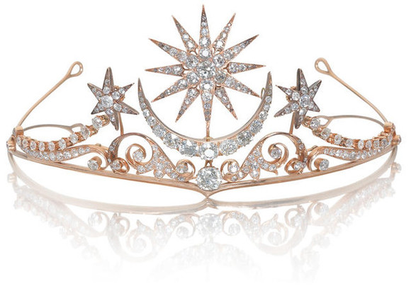 jewels crystal tiara golden diamonds stars moon