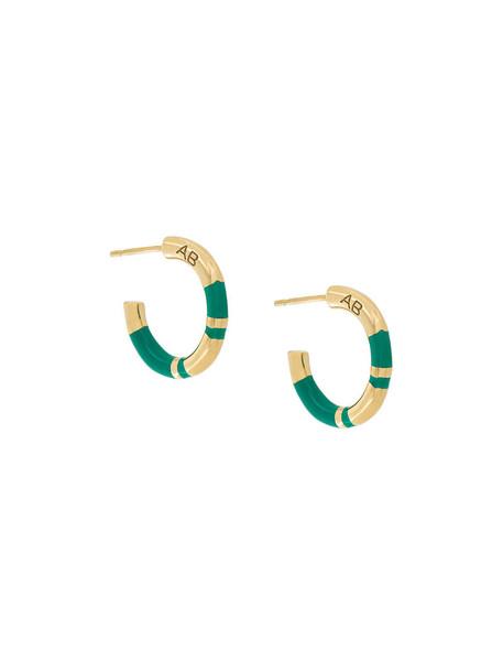 women earrings gold green jewels