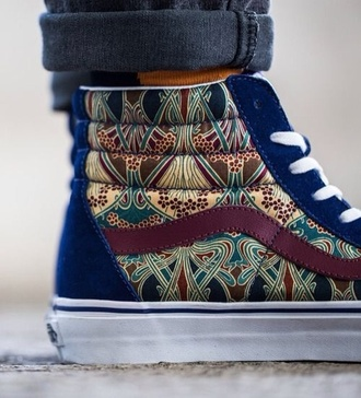 shoes vans mens shoes burgundy high top sneakers blue shoes pattern white laces cool print older shoe high top authentic old school printed vans sk8-hi zip blue hipster trendy retro fashion style cool pretty high heels sk8-hi sneakers tribal pattern