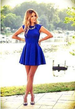 8a17d7c7d Aliexpress.com  Compre Moda sem mangas tanque mini vestido verão 2015 azul  novo night club vestido ...