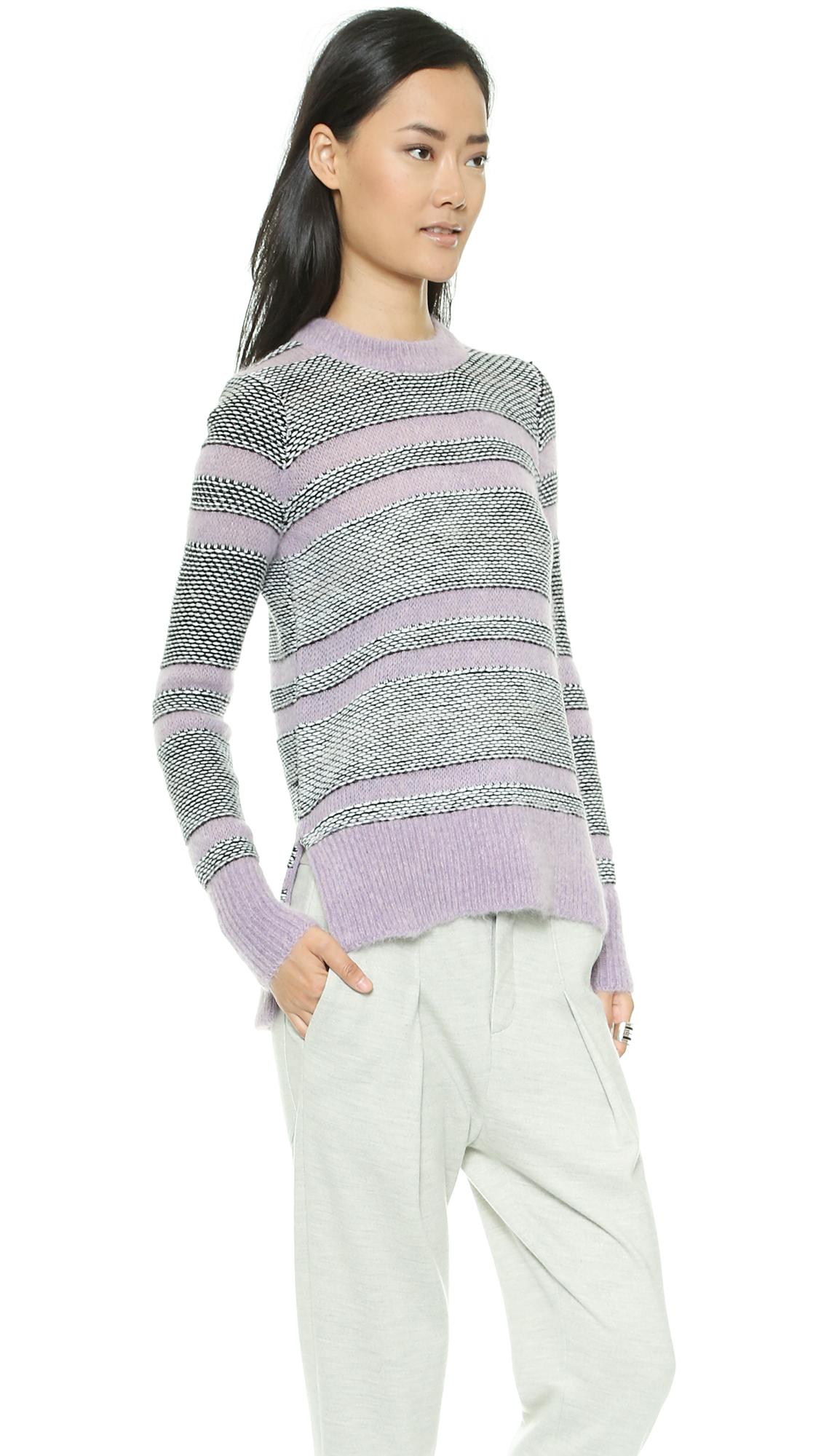 Rebecca taylor luxe fluff stripe pullover