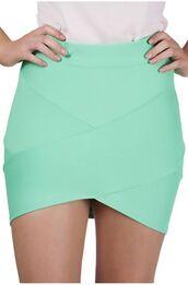 skirt,teal,bandage skirt,mini skirt,asymmetrical hemline