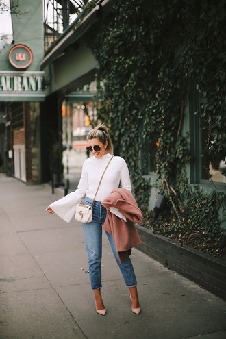 stephanie sterjovski - life + style blogger top sunglasses shoes bag bell sleeves white blouse gucci bag pumps beige coat spring outfits