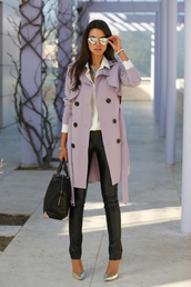 viva luxury,coat,trendy,women,sunglasses,long coat,lavender,lavender coat,trench coat,jacket,burberry,fashion
