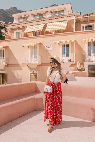 stephanie sterjovski - life + style blogger t-shirt pants hat shoes bag gucci bag red skirt maxi skirt sandals