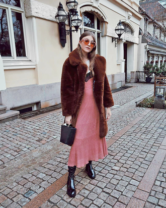 coat tumblr brown coat teddy bear coat dress maxi dress pink dress boots black boots bag black bag sunglasses