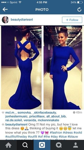 dress blue dress crossed back long sleeves prom dress