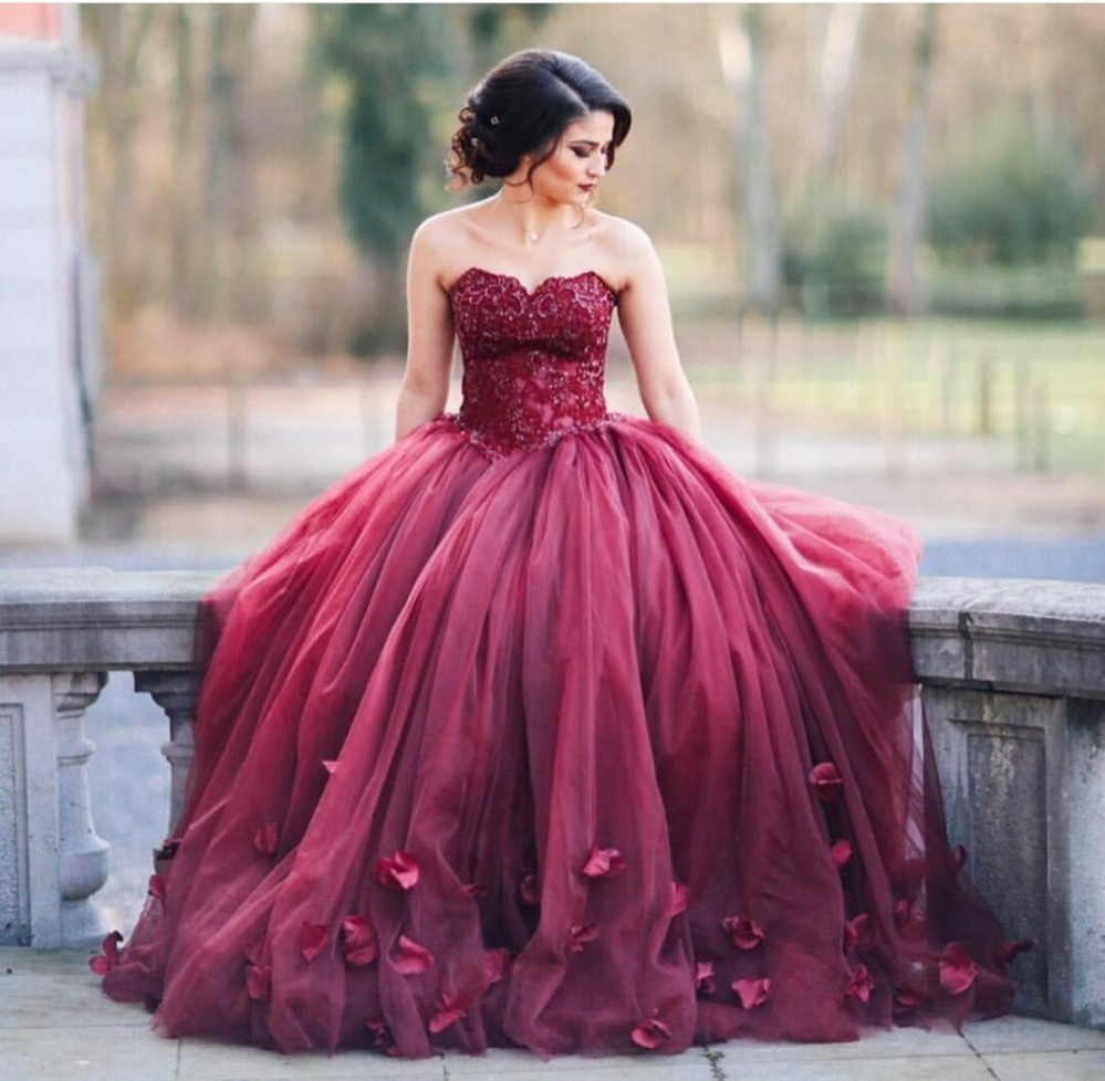 Robe De Soiree Red Ball Gown Prom Dresses Off The Shoulder Appliques ...