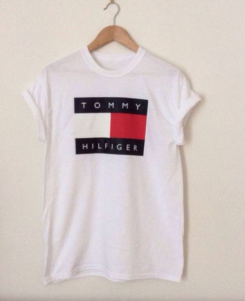 shirt tommy hilfiger tommy hilfiger shirt red white blue tumblr tumblr girl tumblr shirt tumblr outfit tumblr fashion cute t-shirt brand print graphic tee white t-shirt white top