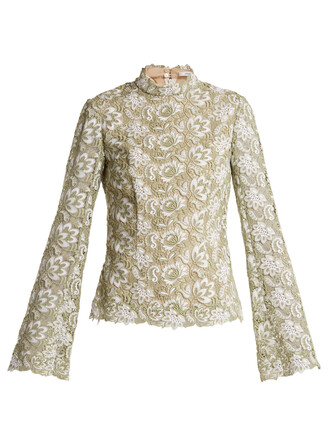 top lace top high lace floral green