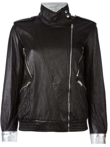 Saint Laurent jacket zip women cotton black