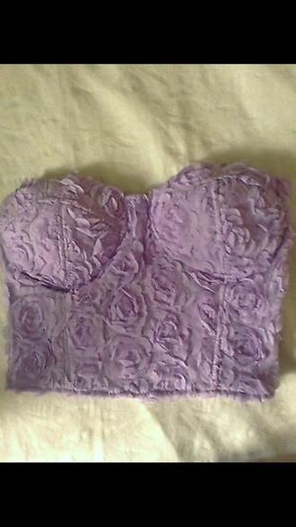 top purple lilac flowers prom dress roses crop tops bustier dress