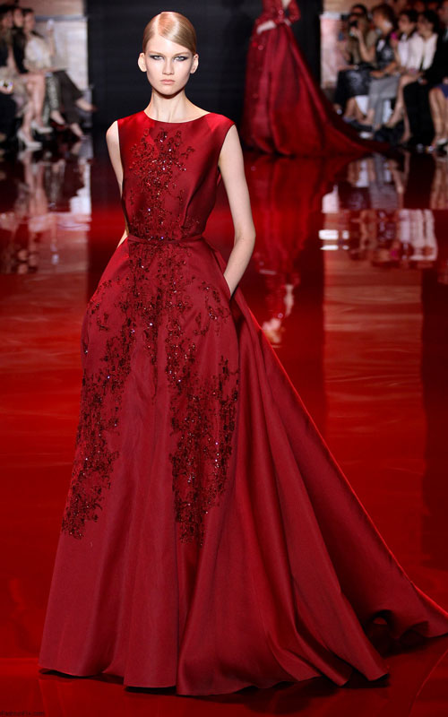 Elie Saab Haute Couture Fall/Winter Red Evening Ball Gown [Elie Saab Haute Couture Red Dress] - $199.00 :