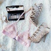 underwear,bra,bralette,lace bralette,blush,blush pink,pink,soft pink,baby pink,heels,make-up,nude,gojane
