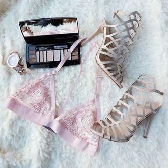 underwear bra bralette lace bralette blush blush pink pink soft pink baby pink heels make-up nude gojane