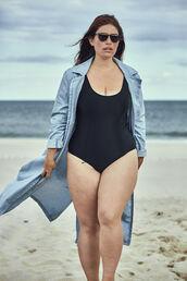 one piece swimsuit,black swimwear,monokini,clementine desseaux,model,blogger,beach,summer,cover up,curvy,plus size swimwear,plus size,swimwear,coat