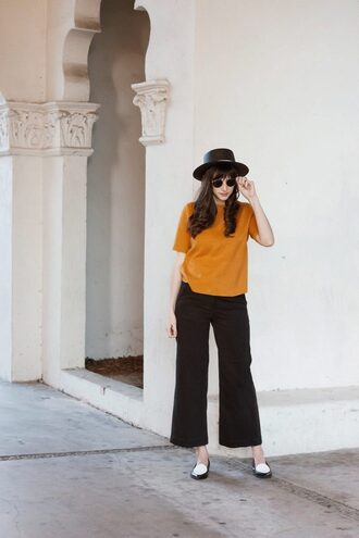 jeans and a teacup blogger top pants hat shoes jewels sunglasses sweater jeans fall outfits yellow top black pants loafers