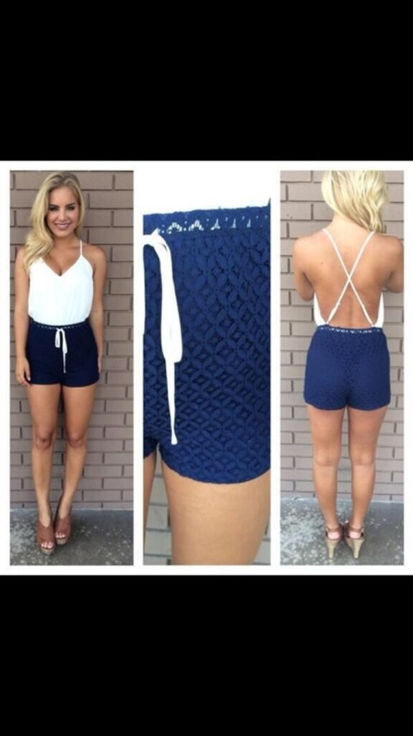 dress white navy romper blonde hair criss cross spagetti straps