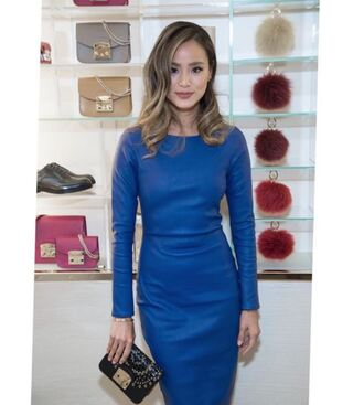 bag blue blue dress dress jamie chung blogger instagram